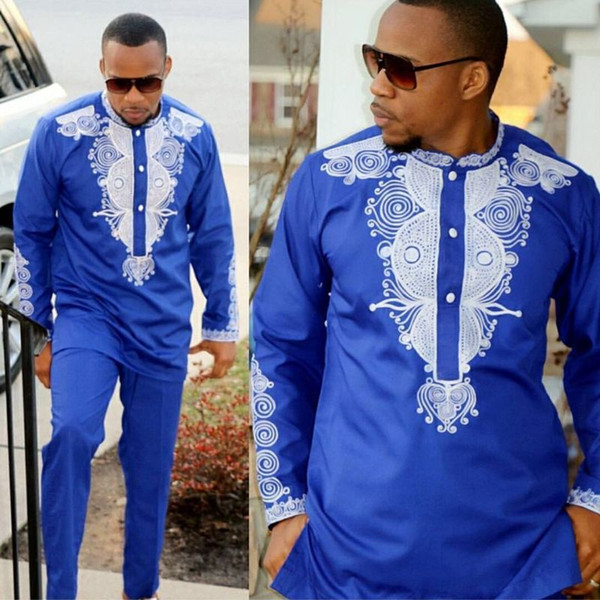 top popular Dashiki mens top pant set 2 pieces outfit set African men clothes 2018 riche african clothing for men dashiki shirt with trouser 2021