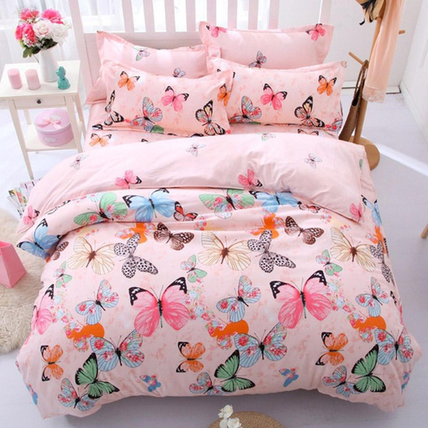 Fashion Butterfly Printed Cotoon Quilt Duvet Cover Comforter Bed Sheet Pillowcas Bedding Set Kids Room Decor