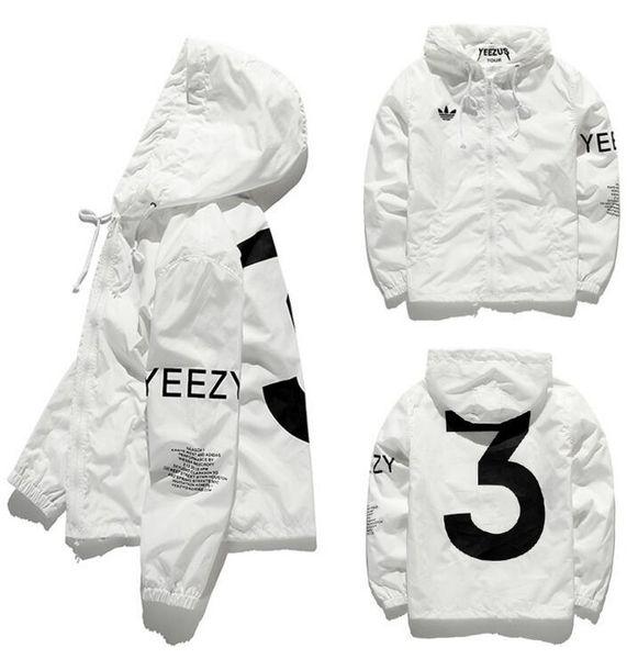 Nueva chaqueta de los hombres Y-3 rompevientos mujeres hip hop streetwear monopatín diseñador soprtwear kanye west chaqueta con capucha abrigo