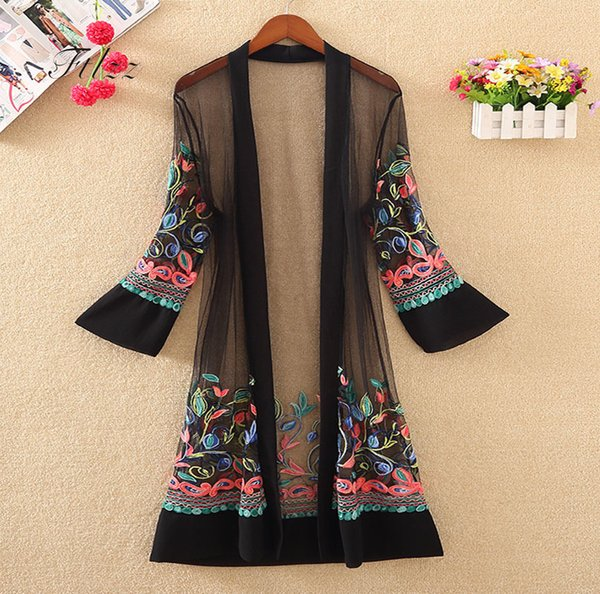 New Women Floral Embroidered Long Jacket Summer Net Cardigan Casual Long Sleeved Thin Coats Ladies Vintage Beach White Outerwear T5190612