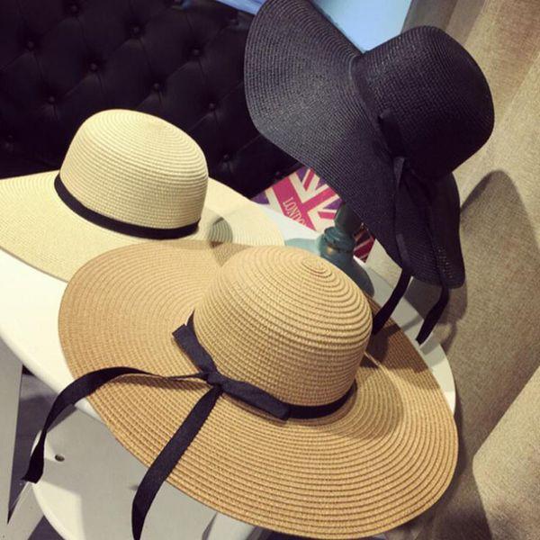 2019 Hottest Summer Beach Hats Straw Shadeable Wide Brim Hats Khaki Bow-Tie Women Large Floppy Hats