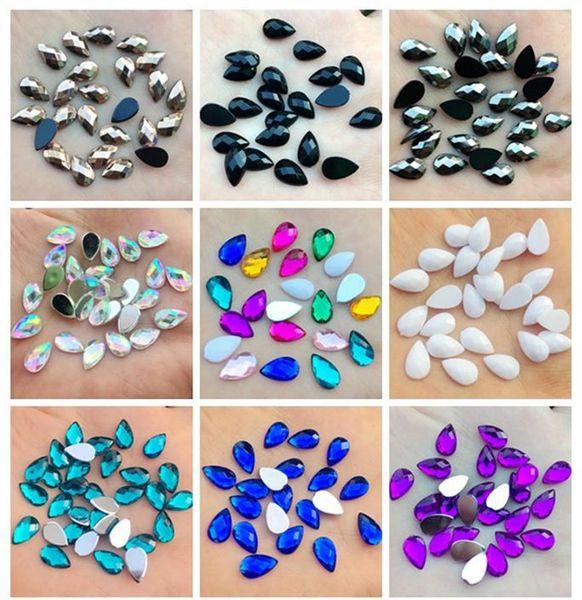 880pcs 6*10mm AB Colorful flatback Water drop stone and crystal Acrylic Rhinestones trim Phone costume Decoration -B00