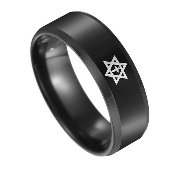 2018 New Black Titanium Steel Pentagram Star of David Cross Ring Men's Women Wedding Band Israel Jewish Jewelry