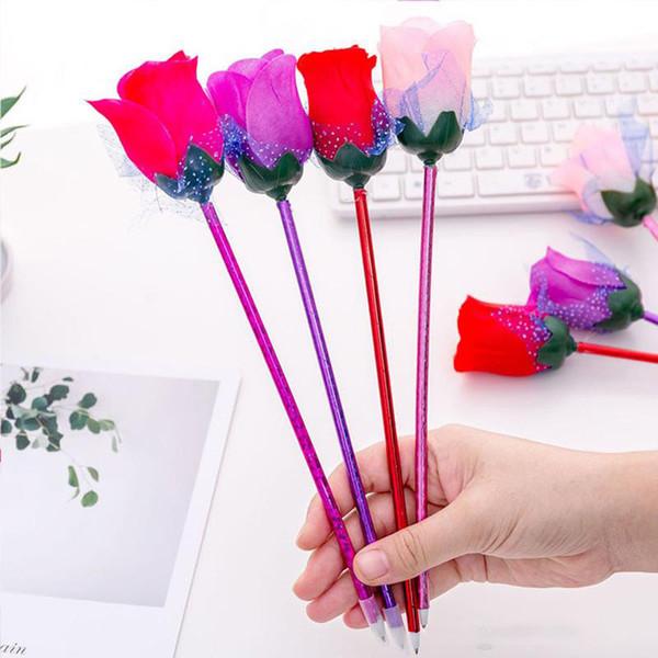 Rosa Bolígrafo Decoración de Flores Creativa Hermosa Oficina Papelería Escolar Regalo de Boda del Día de San Valentín