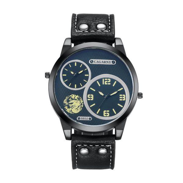 Luxo Cagarny Mens Relógios Homens Quartz Relógio Pulseira De Couro Dual Time Zones Estilo Militar Reloj XFCS Casual relógios de Pulso