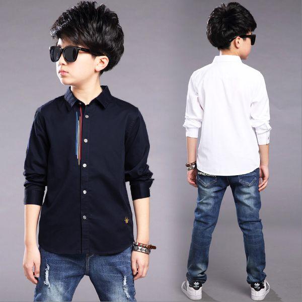 best selling Kids Clothes Spring Autumn Boys Cotton Blouses Kids Boys Long Sleeve Shirt Children Fashion Shirt 5-14 Years Turn-down Collar