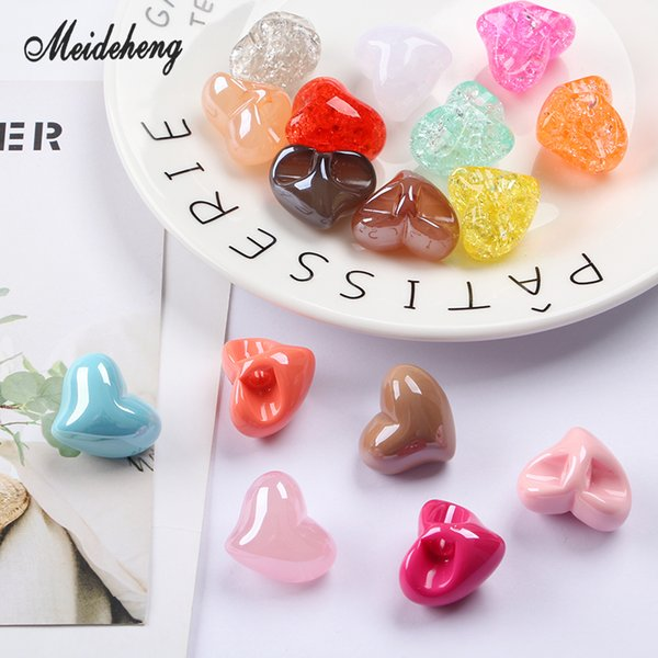 Acrylic UV plating Heart Jelly Cracked Eccentric Hole bead Bracelet Pendant Hair Ornament Jewelry Accessories Women's Gifts