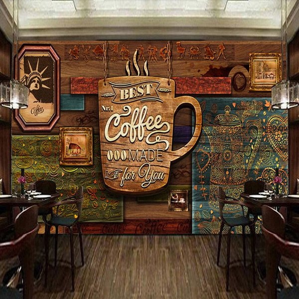 Custom food store wallpaper,Wood pattern coffee,3D retro mural for the restaurant cafe hotel background wall PVC wallpaper arkadi
