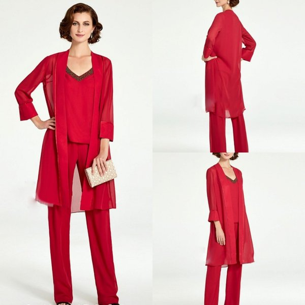 2019 Red Mother of the Bride Pant Suits With Jacket Outfits Jacket Beads Wedding Guest Dress Custom Made Mother Of The Groom Gowns
