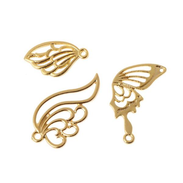 3Pcs Butterfly Wings Metal Frames Pendant Open Bezel Blank Setting Resin Jewelry Findings