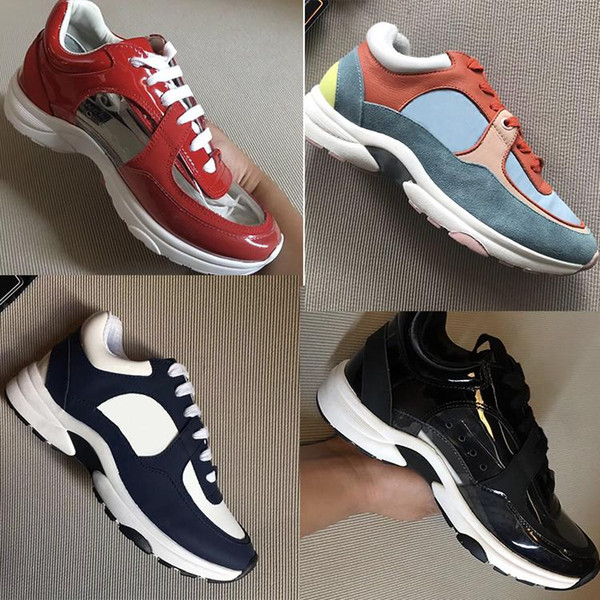2019 luxe baskets en daim nylon veau G34360 chaussures piste clair PVC transparent baskets femme mens Casual Shoes Runners chaussures z026