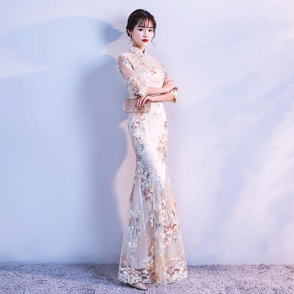 2018 verano moderno chino formal vestidos de encaje rojo azul más cheongsam qipao vestido de novia largo vestidos rojos ropa para mujeres