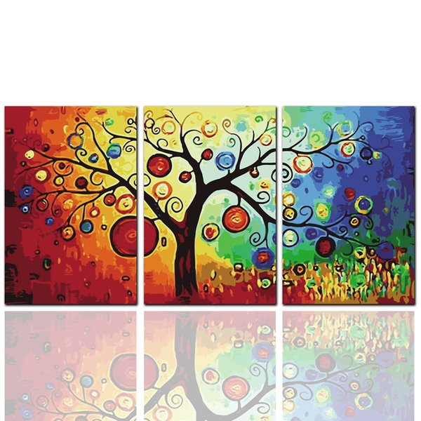 3 Pieces High Definition Di modern abstract apple tree oil painting on canvas large bright canvas art cheap home decoration artwork pictures