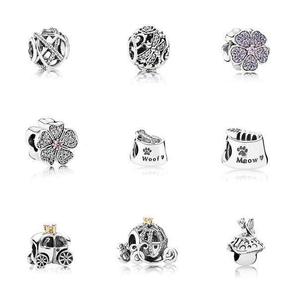 1Pandor Pandora 100% s925 sterling silver bracelet accessories loose beads ladies all inclusive love snowflake string ocean heart 18 models.