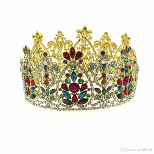 Grande Reine Roi Pageant Couronne pour le mariage diadèmes et couronnes Big-band cheveux Rhinestone Prom Party Coiffe Bijoux de cheveux