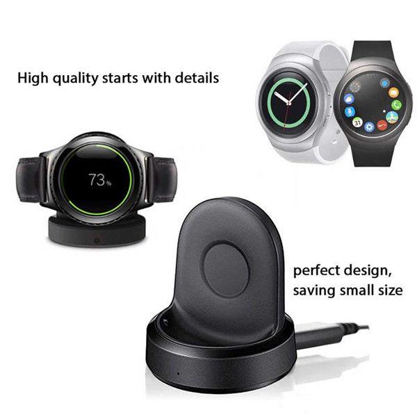 Sin calefacción Cargador inalámbrico de carga en la base para el Samsung Gear S4 S3 Reloj deportivo con cable USB Paquete de venta al por menor de alta calidad