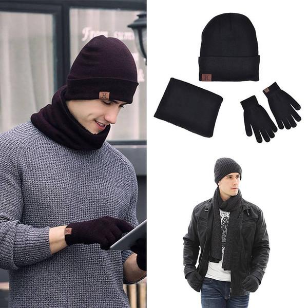 3pcs / set hiver hommes / femmes casual laine chaude tricoté épaissie la russie chapeau écharpe gants écran tactile set