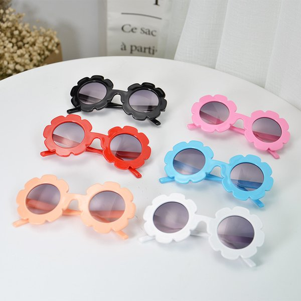 2019 New Baby Girls Sunglasses Children Round Flower Sun Glasses Eyewear Summer Toddler Kids Sun Glasses Boys Girls Student Sunglasses