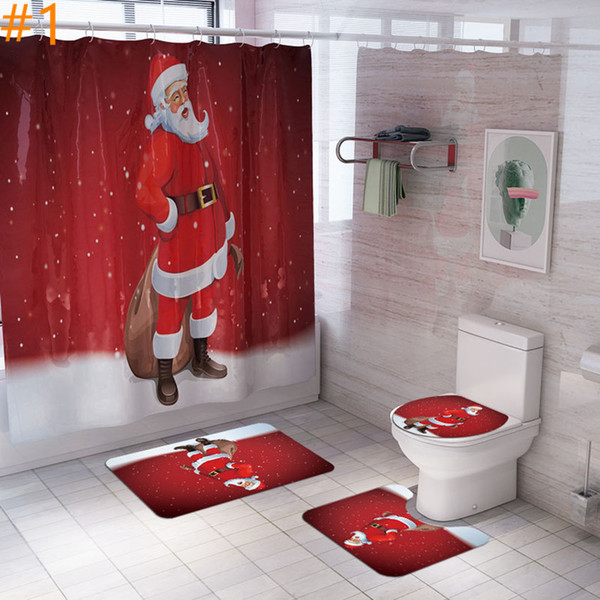Christmas Shower Curtain Carpet Set With Mat Seat Cover Combination Bathroom Toilet Mat Bathroom Curtain Set A03