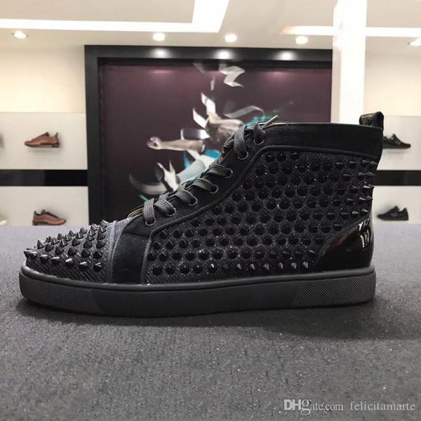 2018 Erkek Kadın Tasarımcı Marka Kırmızı Alt Ayakkabı Moda Spike Çivili Spike Flats Sneakers Rahat Parti Severler Hakiki Deri Rahat