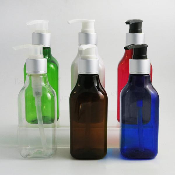 20 unids 200 ml 200 cc Cuadrado Vacío Hombro Champú plástico Lavado Corporal Loción Botellas Contenedores con collar de plata mate Bombas