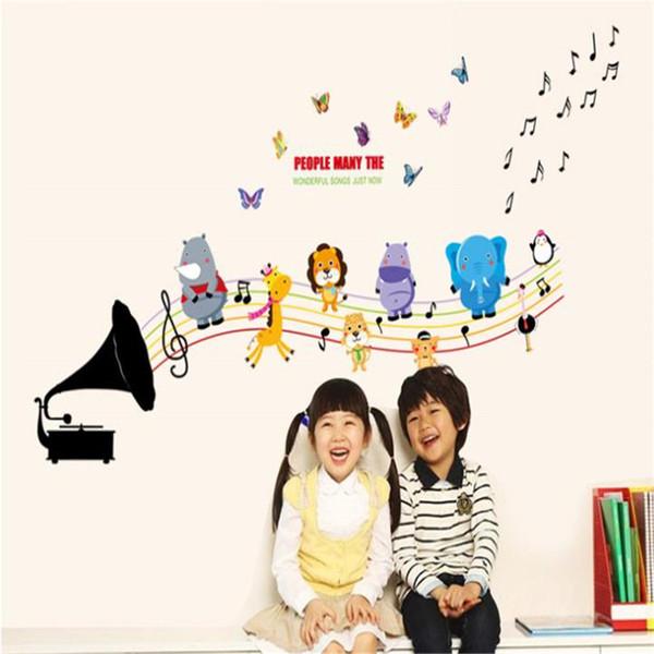 Desenhos animados notas animais de música sala decoração removível Wall Stickers