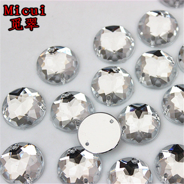 Micui 100PCS 15mm Clear Round Acrylic Rhinestones Crystal Flat Back Beads Sew On 2 Holes Stones For Clothing Decoration ZZ231B