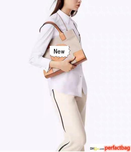Grosses soldes! Fashion Designer Marque classique Femmes sacs à main de petite taille en toile sac fourre-tout avec Big Logo Designer Deux Couleurs