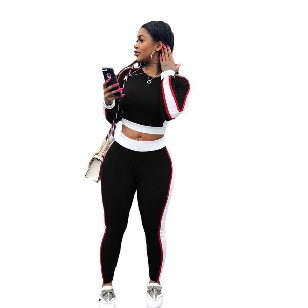 Полосатый женский спортивный костюм 3 цвета тонкий кроп топ и узкие брюки комплект 2019 новое поступление женщин из двух частей наряды бесплатная доставка