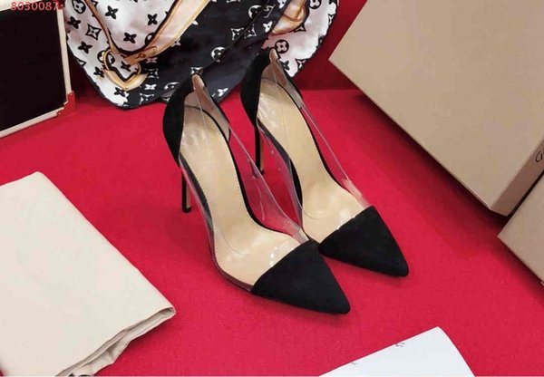 Summer new style girl high heels with rubber transparent sexy crystal sandals High heel with sharp tip Multi-color selection