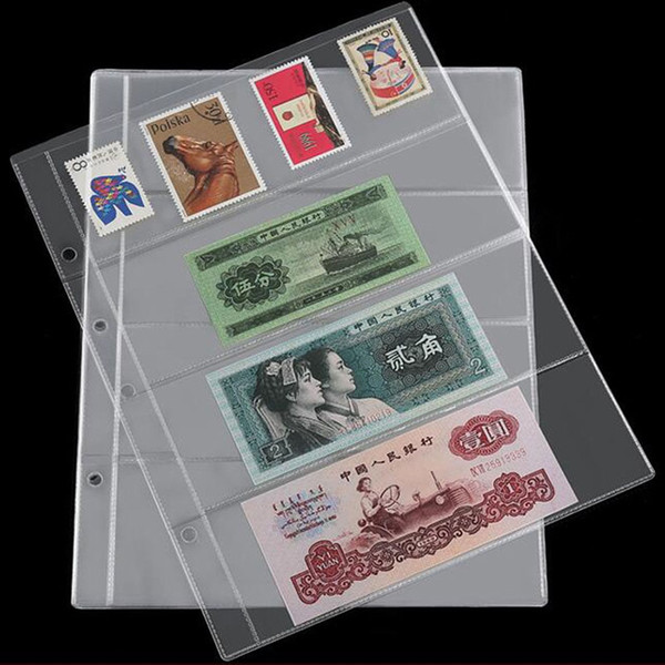 1Pc Paper Money pages 4 Pockets 25.5*20cm Bill Note Currency Holder Album Pages Collection Coin Purses Free Shipping #139474