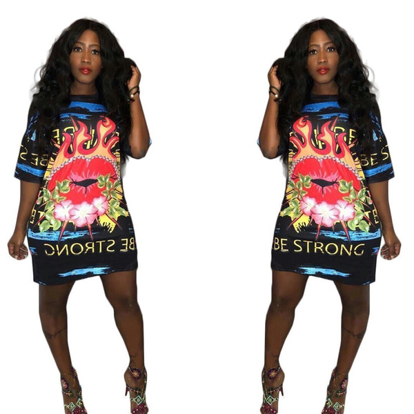 YX9085 new for cross-border fashion hot sales in Europe and America digital printing big lips letter dress female