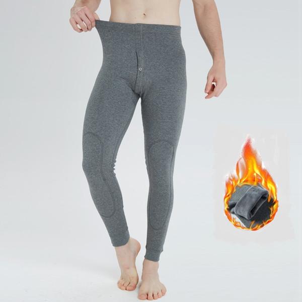 2018 new men pants winter thermal underwear full length leggings thick fleece warm pant thumbnail