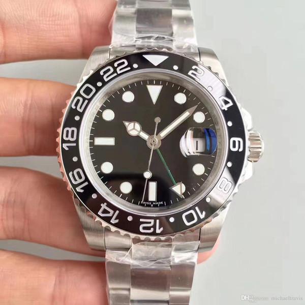 2019 Недавно в списке V3 Версия GMT Мужские часы Ceramic Вращающийся ободок большой лупой Asia 2836 Автоматическое движение нержавеющей Твердая Застежка