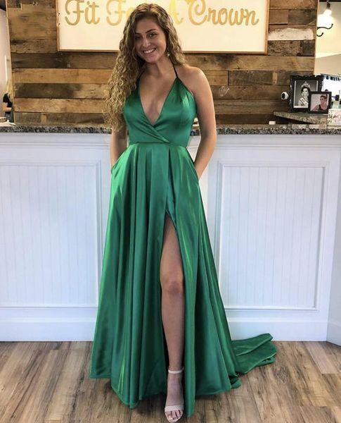 New Prom Dresses Green Deep V-Neck Halter Sleeveless zipper Back A-Line Side Slit Silk Satin Evening Party Gowns