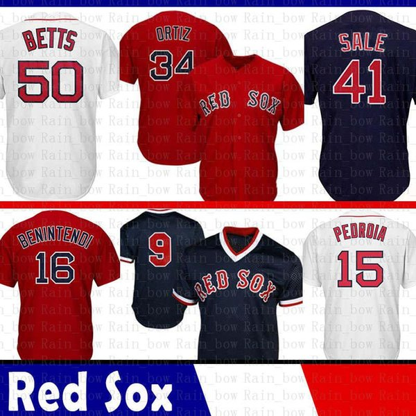 finest selection 48cb2 2135d 2019 Best Mens Boston Red Jersey Sox 34 David Ortiz 15 Dustin Pedroia 16  Andrew Benintendi 50 Mookie Betts 9 Ted Williams 41 Chris Sale 28 From ...