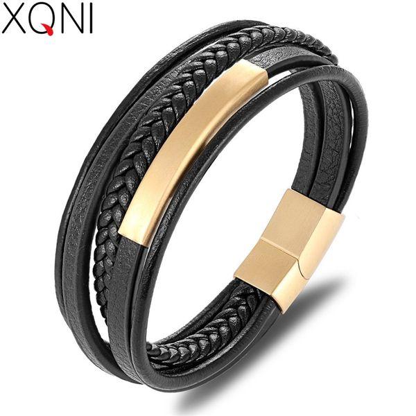 XQNI Großhandelspreis Klassische Echtes Leder Armband Für Männer Hand Charme Schmuck Multilayer Magnet Handgemachtes Geschenk Für Coole Jungen