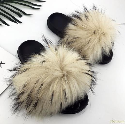 real raccoon fur slippers women 2019 sliders casual hair flat fluffy fashion home summer big size 45 furry flip flops shoes, Black