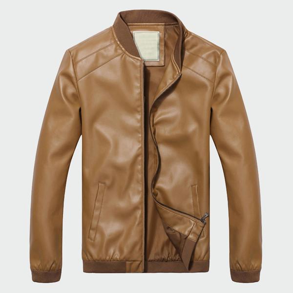 Giacca da uomo in pelle da uomo di marca primavera primavera autunno classico maschile PU faux sottile cappotti da motociclista cappotto motociclista