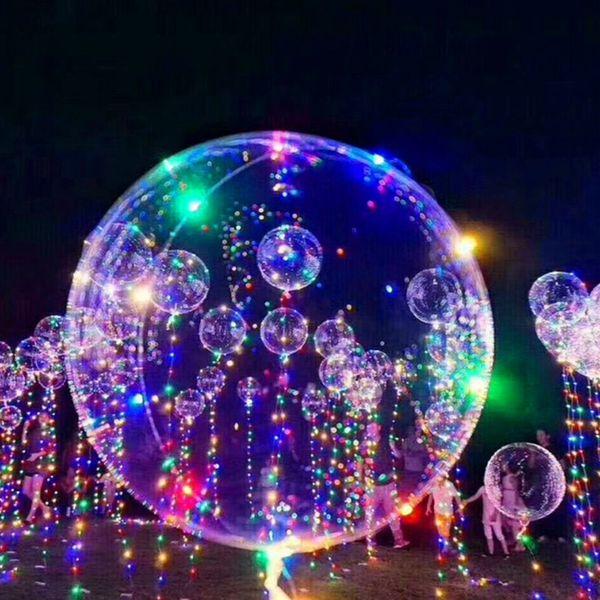 Globo del LED luminoso divertido juguetes de los niños del bebé transparente que brillan en globo de helio cadena luces de Navidad de la boda del partido
