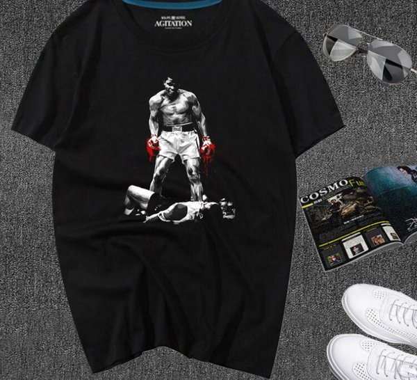 Muhammad Ali Ring Photo Red Gloves Adult T Shirt Boxing T-shirts Black