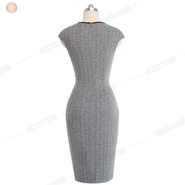 Optical Dress Vintage Illusion Wear To Work Vestidos Bodycon Sheath Party Office Business Women Elegant B458