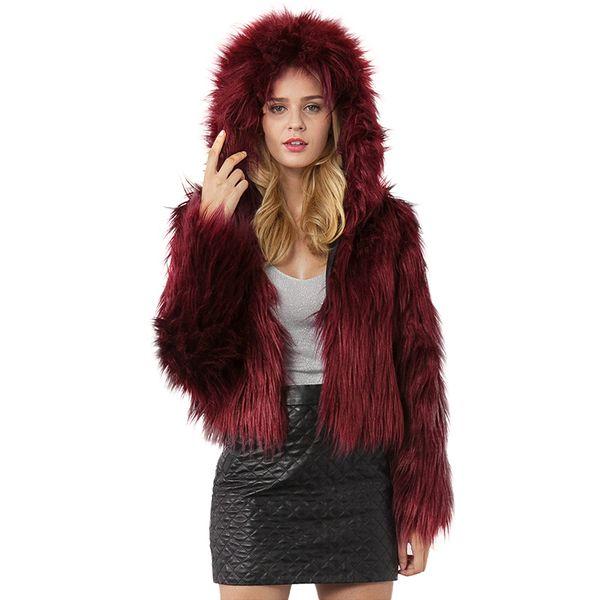 Anself Fashion Women Winter Crop Top Faux Fur Hooded Coat Long Sleeve Fluffy Jacket Short Party Streetwear Fourrure Outerwear