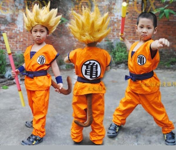 Dragon Ball Z DBZ Son Goku Cosplay Kostüm Kleidung und Perücke Cosplay für Kinder Top / Hose / Perücke / Gürtel / Schwanz / Handgelenk / Golden Cudgel SH190908