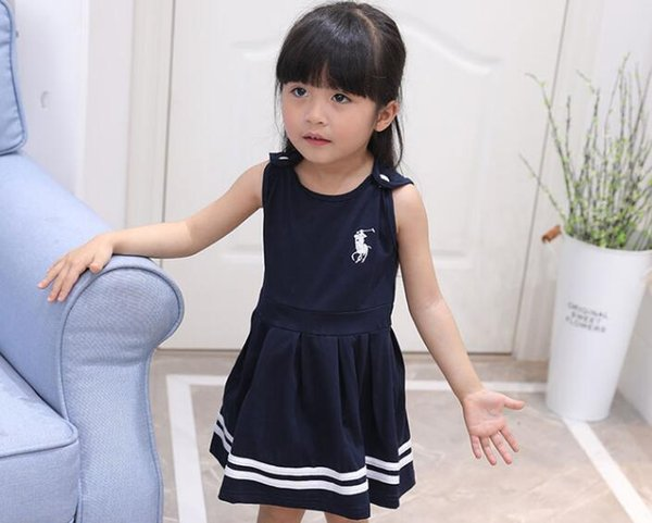 Children's Cute polo Baby Girl dress Sleeveless Tank Pleated Dress O-Neck Summer kids Clothes Baby Girls Dresses