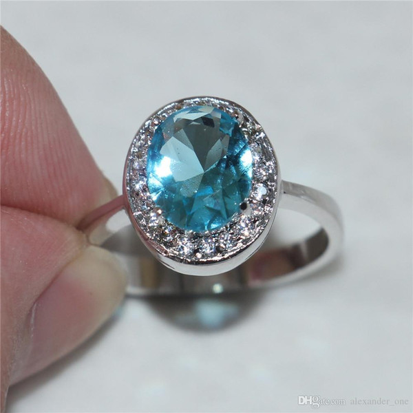 Size 6/7/8/9 Princess 10KT white gold filled Oval Aquamarine Gemstone Rings Gift for Women Girlfriend