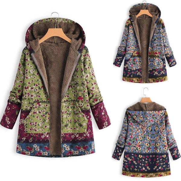 Chuwanglin Nueva impresión chaqueta de invierno mujer de gran tamaño manteau femme hiver chaquetas calientes jassen dames con capucha de felpa superior A1021