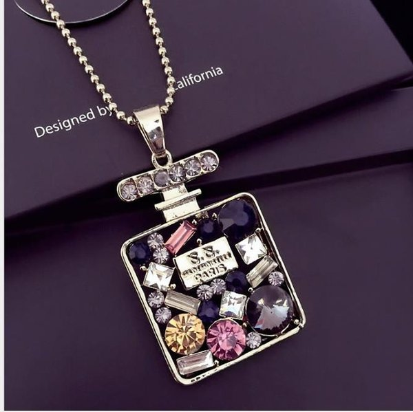 Long necklace female crystal diamond geometric wild hanging sweater chain autumn and winter clothes accessories