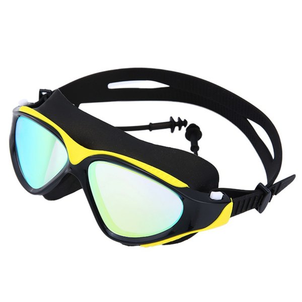Hot Swimming Goggles Men Women High Definition Waterproof Anti-fog Flat Mirror Glasses Large Frame Lens Eyewear With Ear Plug