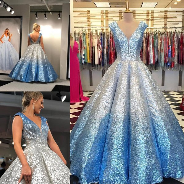 2019 Ball Gown V Neck Cap Sleeves Draped Skirt Backless Formal Party Event Gowns Mother Daughter Gowns